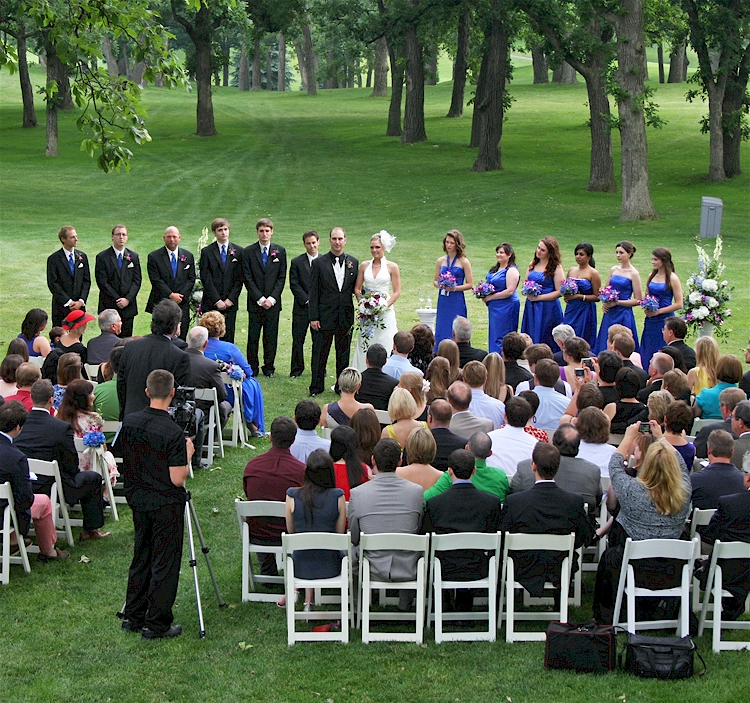 Outdoor wedding ceremony in Elgin Illinois
